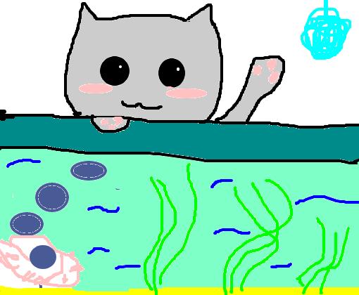 Gatinho Kawaii Com Cobertor Fundo Do Mar Desenho De
