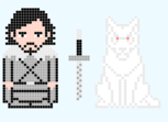 Game Of Thrones - Jon Snow and Ghost - Pixel Art