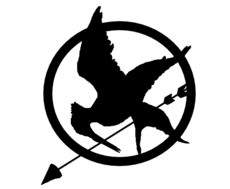 Mockingjay Logo Black And White Broche - Desenho de Ja...