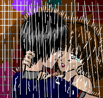 anime couples-kissing in the rain