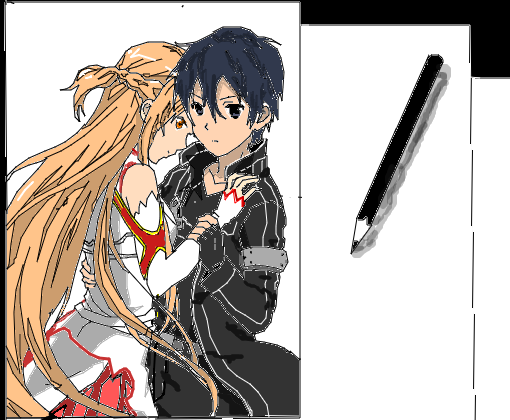 Kirito e Asuna - Desenho de rytalina - Gartic